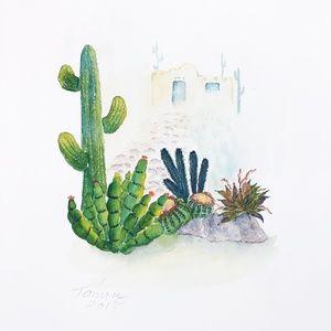 Original Watercolor Art Cactus and Adobe House
